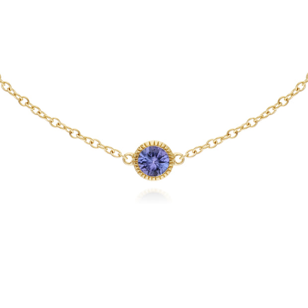 Gemondo 9ct Yellow Gold Tanzanite Single Stone Round Milgrain 19cm Bracelet