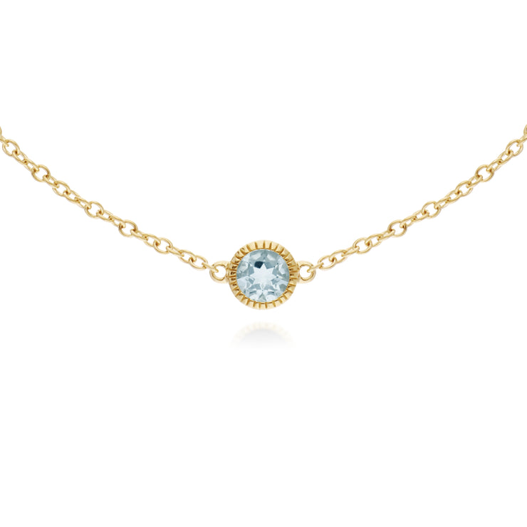 Gemondo 9ct Yellow Gold Aquamarine Single Stone Round Milgrain 19cm Bracelet