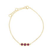 Classic Round Ruby Three Stone Milgrain Bracelet in 9ct Yellow Gold