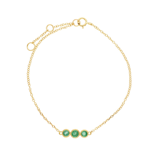 Gemondo 9ct Yellow Gold Emerald Triple Stone Round Milgrain 19cm Bracelet