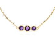 Classic Round Amethyst Three Stone Milgrain Bracelet in 9ct Yellow Gold