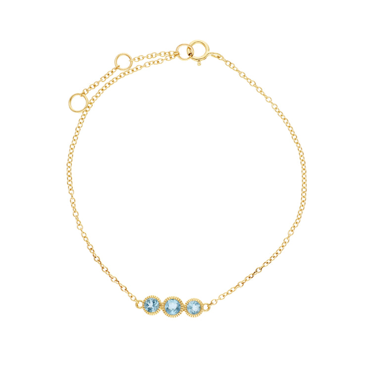 Classic Round Blue Topaz Three Stone Milgrain Bracelet in 9ct Yellow Gold