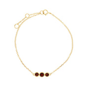 Classic Round Garnet Three Stone Milgrain Bracelet in 9ct Yellow Gold