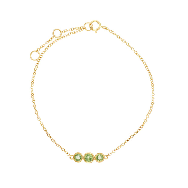 Classic Round Peridot Three Stone Milgrain Bracelet in 9ct Yellow Gold