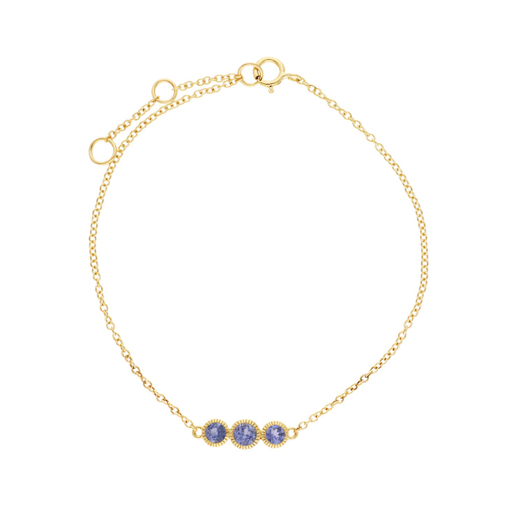 Gemondo 9ct Yellow Gold Tanzanite Triple Stone Round Milgrain 19cm Bracelet