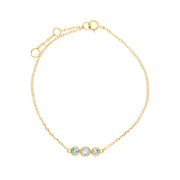 Classic Round Aquamarine Three Stone Milgrain Bracelet in 9ct Yellow Gold