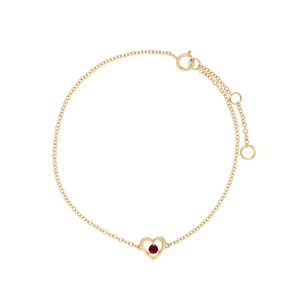 Classic Single Stone Round Ruby Love Heart Bracelet in 9ct Yellow Gold