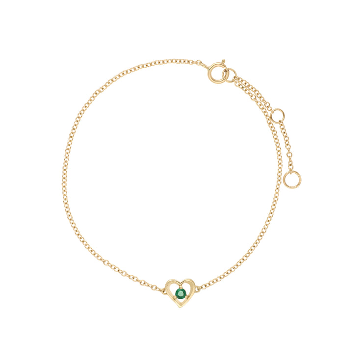 Classic Single Stone Round Emerald Love Heart Bracelet in 9ct Yellow Gold