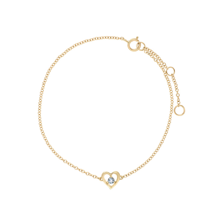 Classic Single Stone Round Aquamarine Love Heart Bracelet in 9ct Yellow Gold