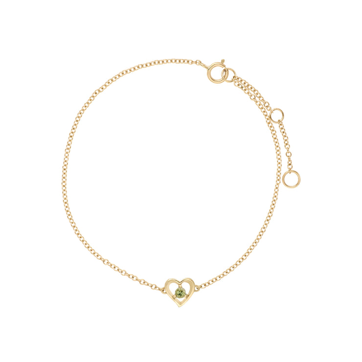 Classic Single Stone Round Peridot Love Heart Bracelet in 9ct Yellow Gold