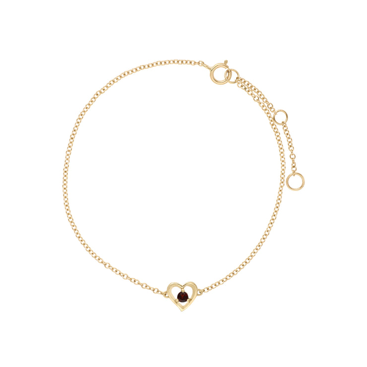 Classic Single Stone Round Garnet Love Heart Bracelet in 9ct Yellow Gold