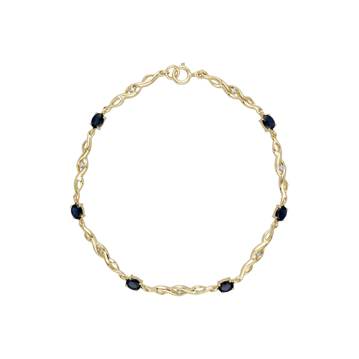 Classic Style Oval Sapphire & Diamond Tennis Bracelet in 9ct Yellow Gold