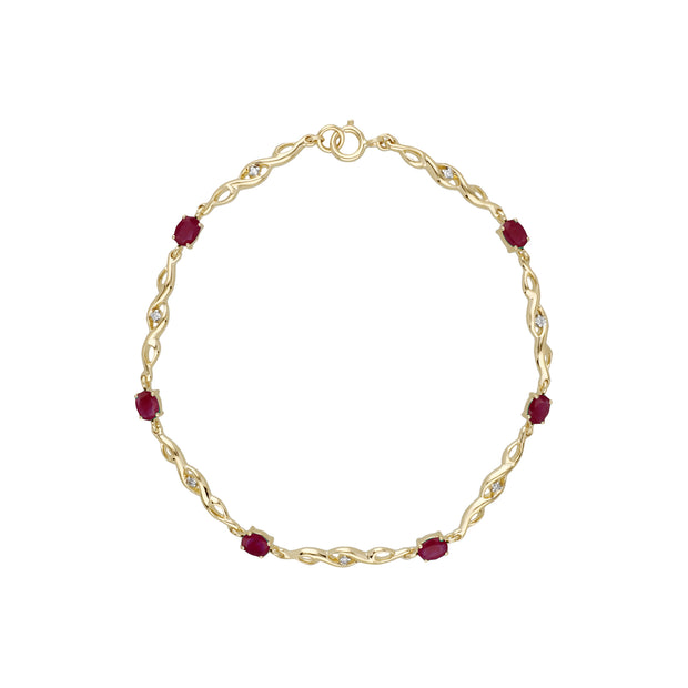 Classic Style Oval Ruby & Diamond Tennis Bracelet in 9ct Yellow Gold