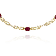 Classic Style Oval Ruby & Diamond Infinity Bracelet in 9ct Yellow Gold