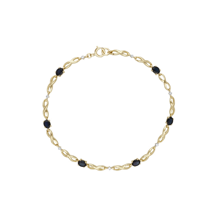 Classic Style Oval Sapphire & Diamond Infinity Bracelet in 9ct Yellow Gold