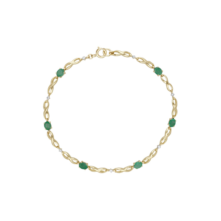Classic Style Oval Emerald & Diamond Infinity Bracelet in 9ct Yellow Gold