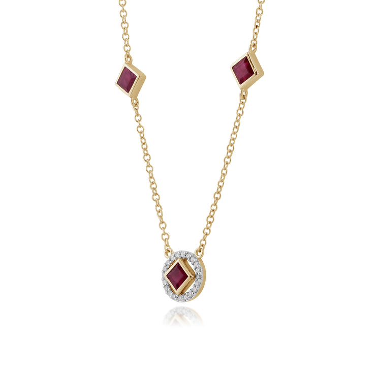 Classic Square Ruby & Diamond Halo Necklace in 9ct Yellow Gold