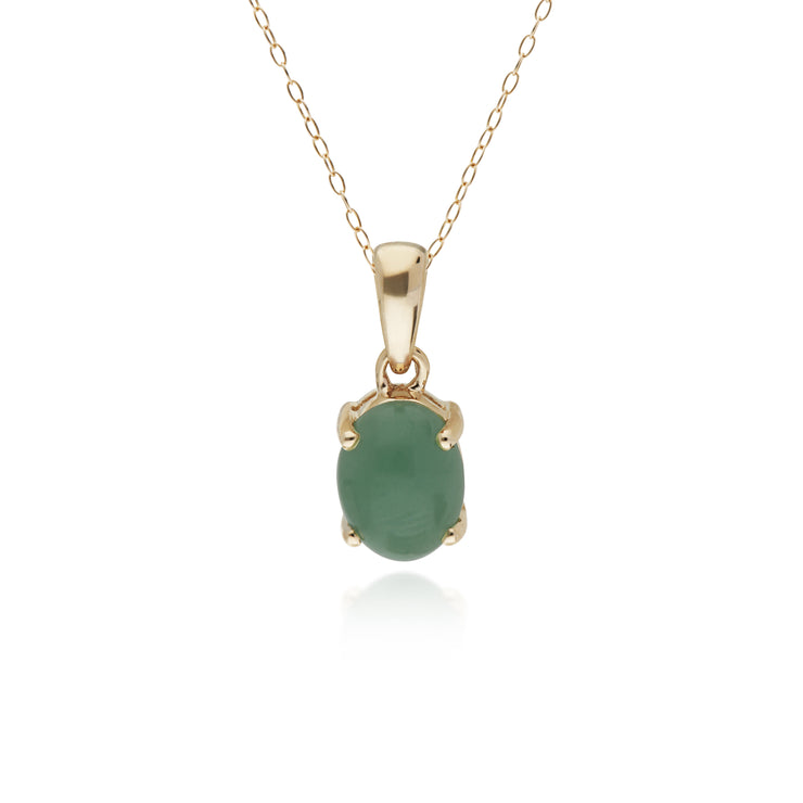 10ct Yellow Gold Jade Oval Pendant on 45cm Chain