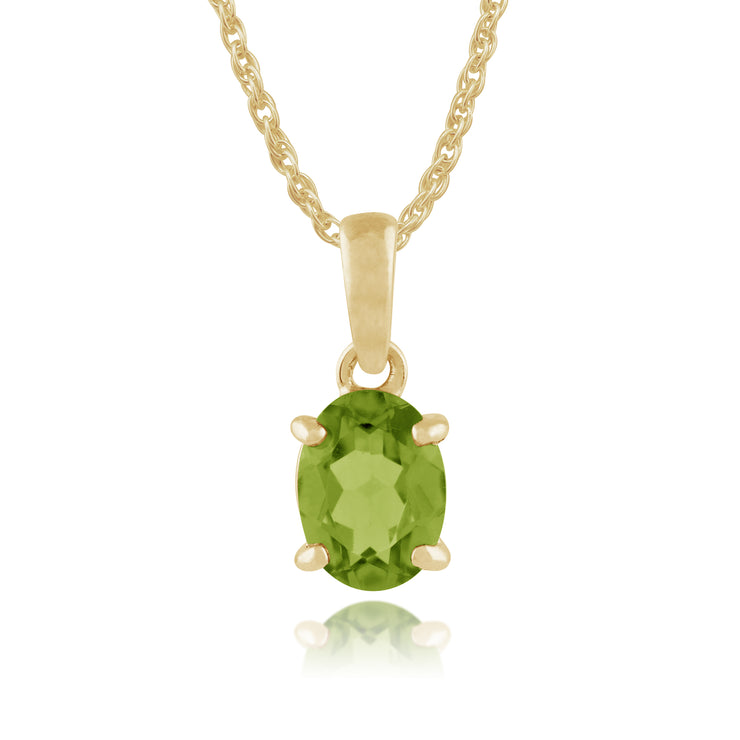 Classic Oval Peridot Pendant in 9ct Yellow Gold