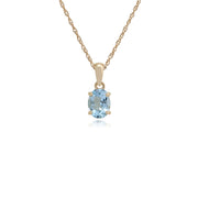 Classic Oval Aquamarine Single Stone Pendant in 9ct Yellow Gold