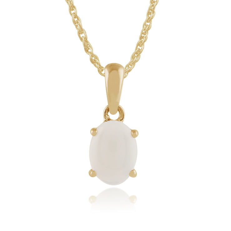 Classic Oval Opal Pendant in 9ct Yellow Gold