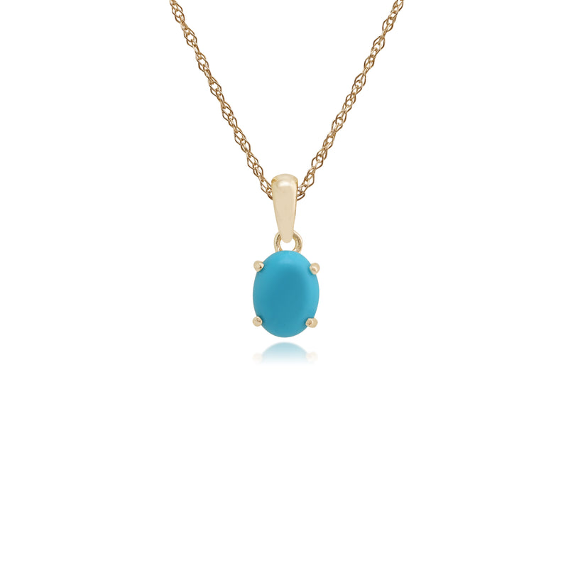 Classic Oval Turquoise Cabochon Pendant in 9ct Yellow Gold