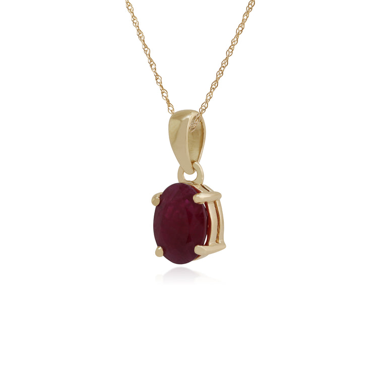 Classic Oval Ruby Claw Set Single Stone Pendant in 9ct Yellow Gold