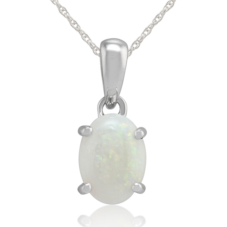 Classic Oval Opal Cabochon Pendant in 9ct White Gold