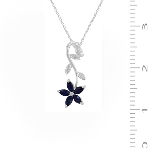 Floral Marquise Sapphire & Diamond Drop Pendant in 9ct White Gold