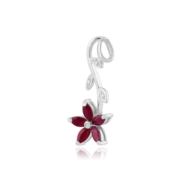 Floral Marquise Ruby & Diamond Pendant in 9ct White Gold