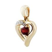 Classic Heart Garnet & Diamond Pendant in 9ct Yellow Gold