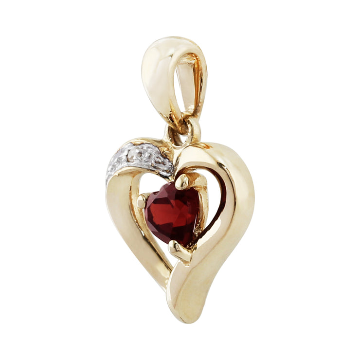 Classic Heart Garnet & Diamond Stud Earrings & Pendant Set Image 6