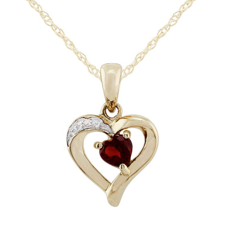 Classic Heart Garnet & Diamond Stud Earrings & Pendant Set Image 5