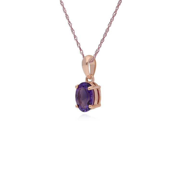 Gemondo 9ct Rose Gold 4 Claw Set Amethyst Classic Oval Pendant on 45cm Chain