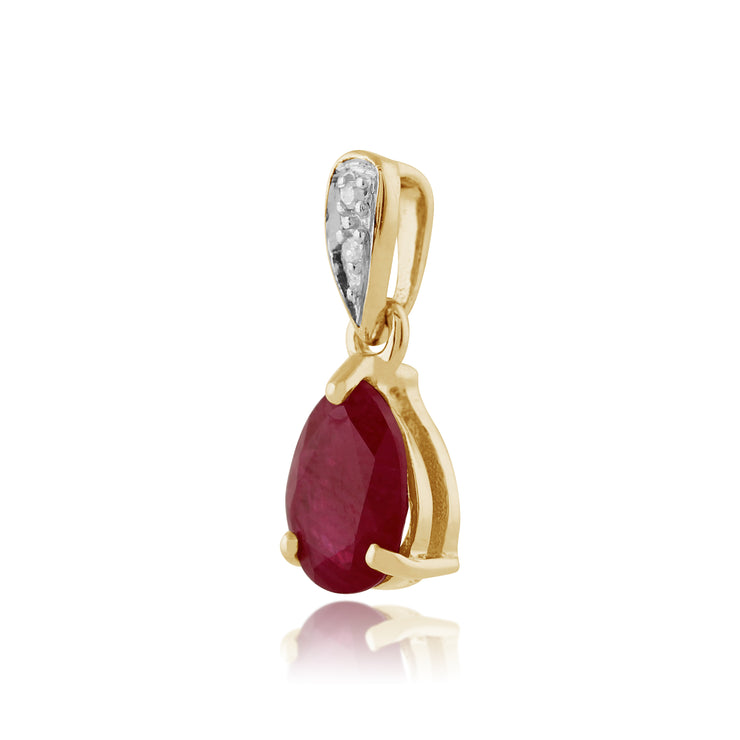 Classic Pear Ruby & Diamond Pendant in 9ct Yellow Gold