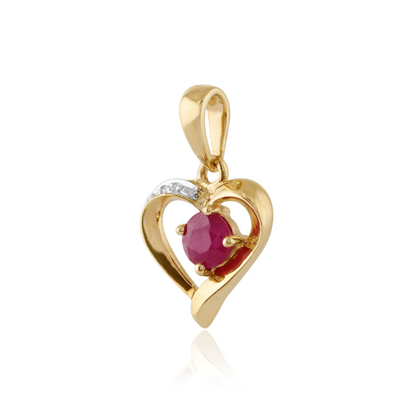Classic Round Ruby & Diamond Heart Pendant in 9ct Yellow Gold