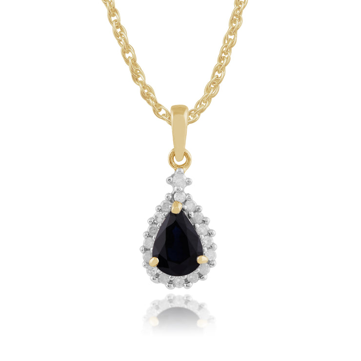 Classic Round Sapphire & Diamond Cluster Pendant in 9ct Yellow Gold