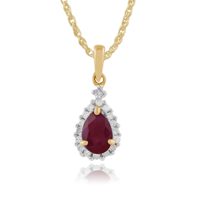 Classic Pear Ruby & Diamond Cluster Pendant in 9ct Yellow Gold
