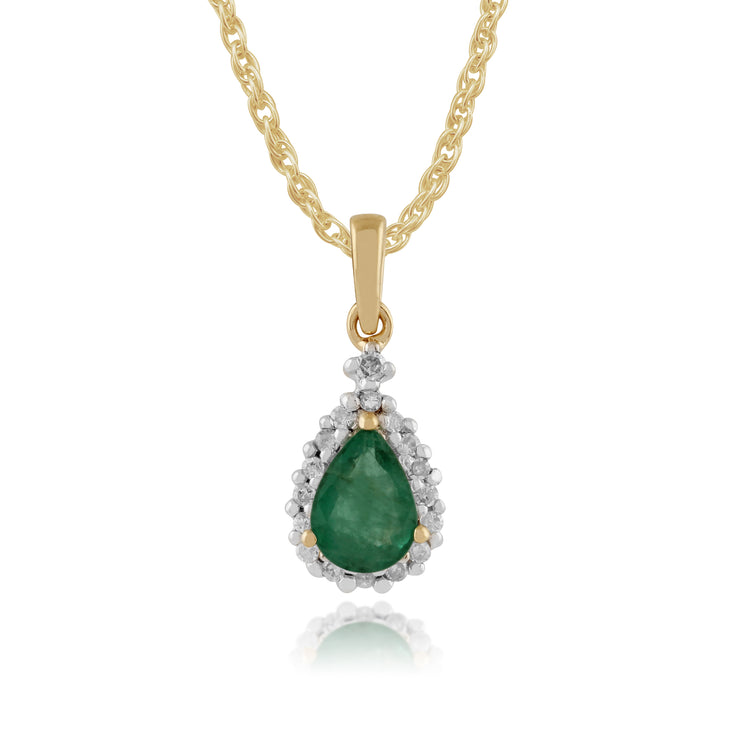 Classic Pear Emerald & Diamond Pendant in 9ct Yellow Gold