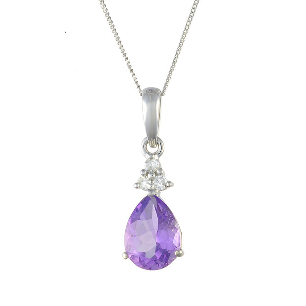 9ct White Gold 0.80ct Natural Amethyst & 4.5pt Diamond Pendant on Chain Image
