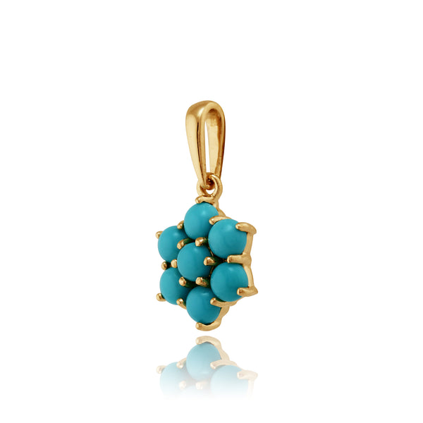 Floral Turquoise Pendant on Chain Image 2