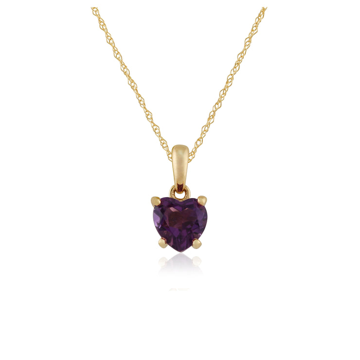 Classic Heart Amethyst Pendant in 9ct Yellow Gold