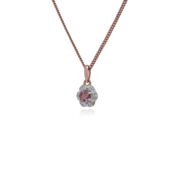 Floral Round Morganite & Diamond Halo Pendant in 9ct Rose Gold