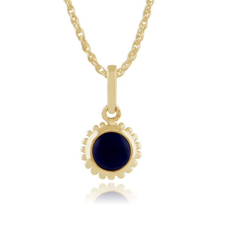 Classic Round Lapis Lazuli Pendant in 9ct Yellow Gold