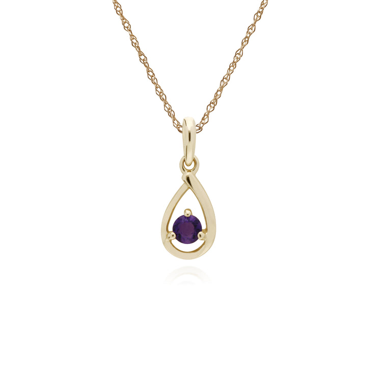 Classic Single Stone Round Amethyst Tear Drop Pendant in 9ct Yellow Gold