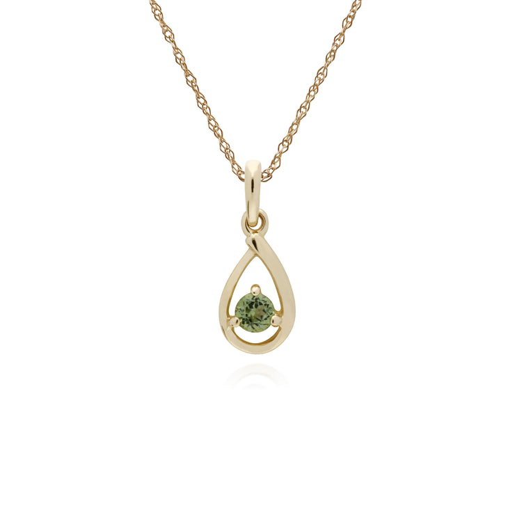 Classic Single Stone Round Peridot Tear Drop Pendant in 9ct Yellow Gold