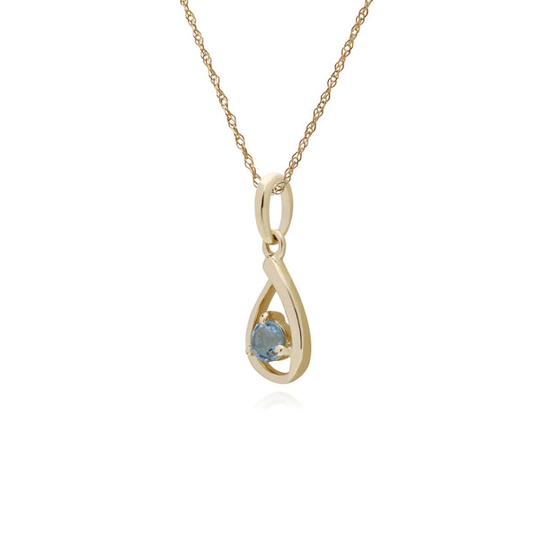 Classic Single Stone Round Aquamarine Tear Drop Pendant in 9ct Yellow Gold