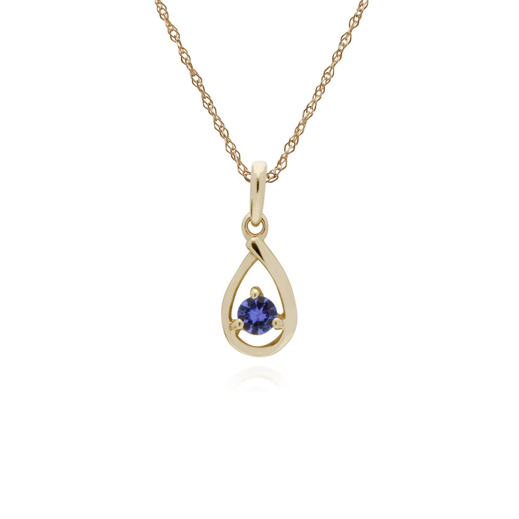 Classic Single Stone Round Tanzanite Tear Drop Pendant in 9ct Yellow Gold