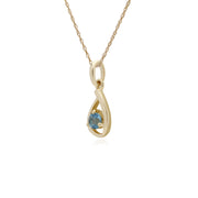 Classic Single Stone Round Blue Topaz Tear Drop Pendant in 9ct Yellow Gold