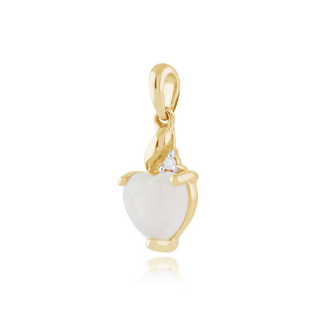 Classic Heart Opal & Diamond Pendant in 9ct Yellow Gold